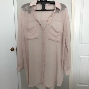 Tan sheer long sleeve blouse by LUSH size small